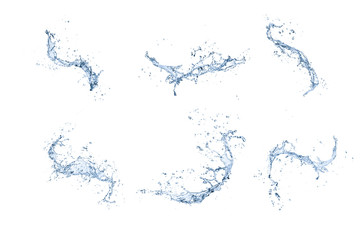 High resolution water splashes collection isolated on white back