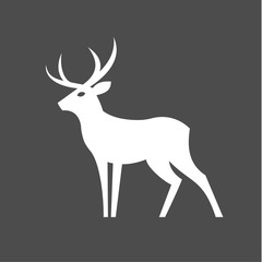Monochrome Deer with antlers illustration for modern minimalist design, plastic form of an animal one color