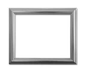 Gray picture frame on white background.