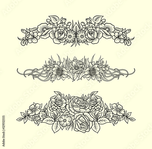 Flowers and leaves ornament decoration line art drawing style good use for symbol decoration