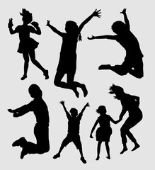 Happy kids playing silhouette. Good use for symbol, logo, web icon, mascot, sign, sticker or any design you want.