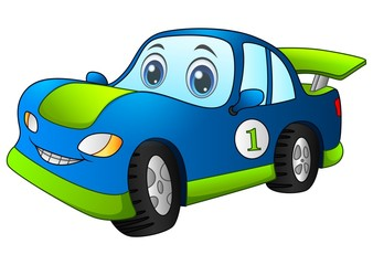 Cartoon sport blue car