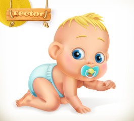 Cute kid. Baby. 3d vector icon