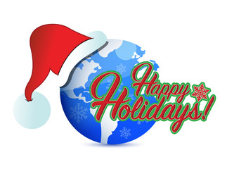 happy holiday globe hat sign illustration