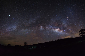 Milky Way and silhouette of tree with cloud at Phu Hin Rong Kla