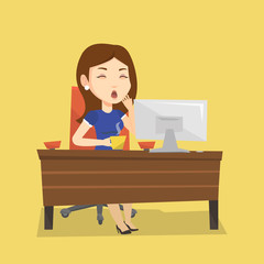 Tired employee working in office.