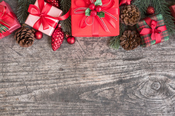 Christmas background decorations with wrap gift box and red orna