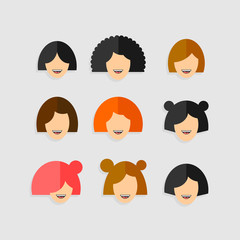 Vector Collection of People Head in Flat Design.