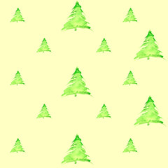 Vintage watercolor pattern with a picture - wood spruce, green pine, fir
