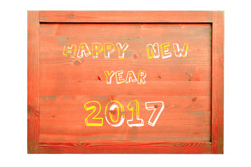 Wood frame for decorative text and image. happy new year 2017