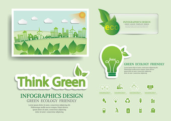 Ecology connection  concept background . Vector infographic illu