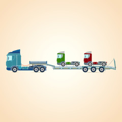 Tral. Three-axle tractor. Autotransporter. Vector illustration