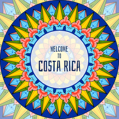 Welcome to Costa Rica illustration vector. Decorated coffee carreta ornament wheel design for tourist symbols, souvenir card, banner or flyer.
