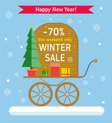Winter Sale banner. Promotion store. Sale up to 70%. Wooden vintage Board with labels - Winter sale, 70% discount - on a vintage cart with gifts and a Christmas tree. Flat style illustration.
