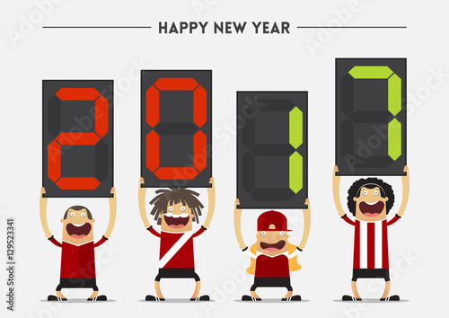 Football Or Soccer Player Showing Substitution Board With Happy New