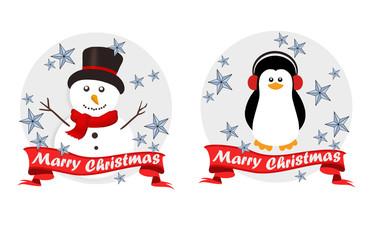 Christmas logo set with cute cartoon characters