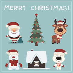 Merry Christmas! Set christmas characters: Santa Claus, reindeer, snowman, polar bear, house and tree.