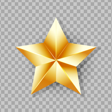 Shiny Gold Star isolated on transparent background. Vector Illustration.