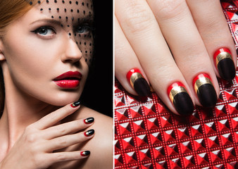 Beautiful girl with a veil, evening makeup, black and red nails. Design manicure. Beauty face. Picture taken in the studio.
