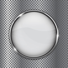 White glass button on metal perforated background