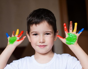 Face, painted, hands, white t-shirt