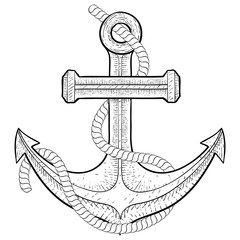 Anchor with rope. Hand drawing