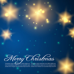 Blue Christmas background with golden shining stars. Vector illustration