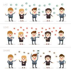 businessman and businesswoman share emotions in social media marketing, business people got social network rating