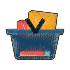 drawing basket shopping many bag gift vector illustration eps 10