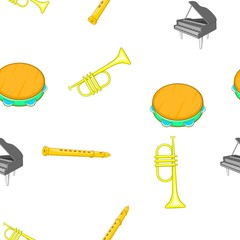 Musical tools pattern. Cartoon illustration of musical tools vector pattern for web