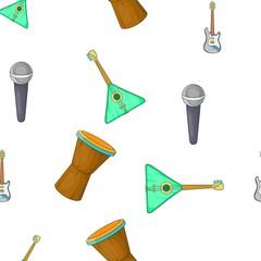 Tools for music pattern. Cartoon illustration of tools for music vector pattern for web