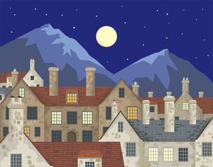 Image of small English villages with old stone houses. Night  townscape. Vector illustration.