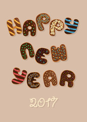 Happy New Year 2017. Chocolate Donuts