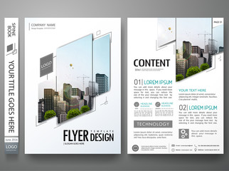 Portfolio design template vector.Minimal brochure report business flyers magazine poster.Abstract black and white square cover book presentation.City concept on A4 size layout. Wall mural
