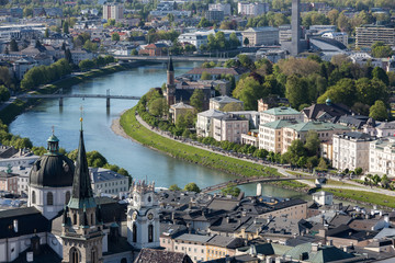 Top view of the Salzach river and the old city in center of Salzburg, Austria, from the walls of the fortress / Festung Hohensalzburg /