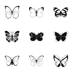 Flying butterfly icons set. Simple illustration of 9 flying butterfly vector icons for web