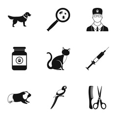 Veterinary animals icons set. Simple illustration of 9 veterinary animals vector icons for web