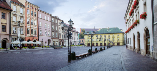 Panorama of little market square (Maly Rynek) in Krakow, Poland