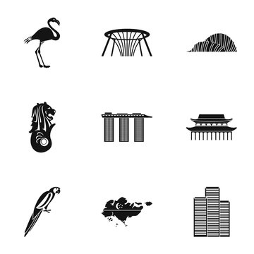 Holiday in Singapore icons set. Simple illustration of 9 holiday in Singapore vector icons for web