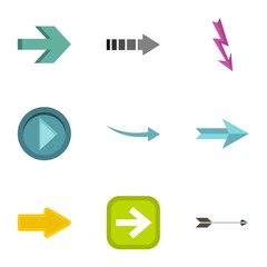 Kind of arrow icons set. Flat illustration of 9 kind of arrow vector icons for web