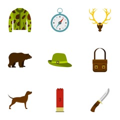 Hunting icons set. Flat illustration of 9 hunting vector icons for web