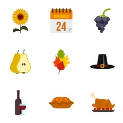 Gratitude celebration icons set. Flat illustration of 9 gratitude celebration vector icons for web