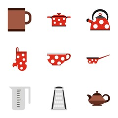Tableware icons set. Flat illustration of 9 tableware vector icons for web