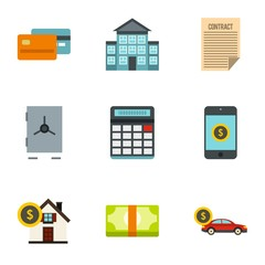 Bank and money icons set. Flat illustration of 9 bank and money vector icons for web