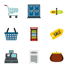 Shop icons set. Flat illustration of 9 shop vector icons for web
