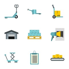 Cargo icons set. Flat illustration of 9 cargo vector icons for web