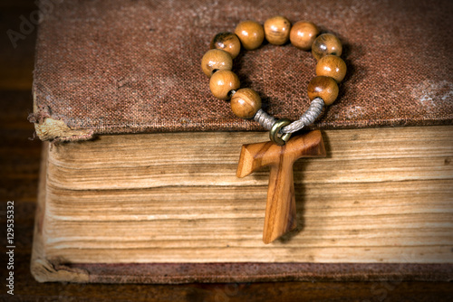Tau Wooden Cross Symbol Of St Francis Of Assisi With Rosary Bead