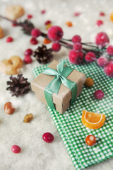 Christmas composition, gift box. Still life with snow