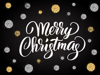 Merry christmas card with hand drawn lettering and golden silver dots.