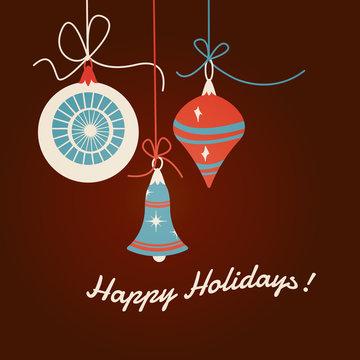Christmas ornaments, flat design, mid-century modern style inspired vintage color palette, vector illustration